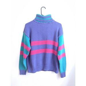 Vintage Eddie Bauer Color Block Knit Turtleneck